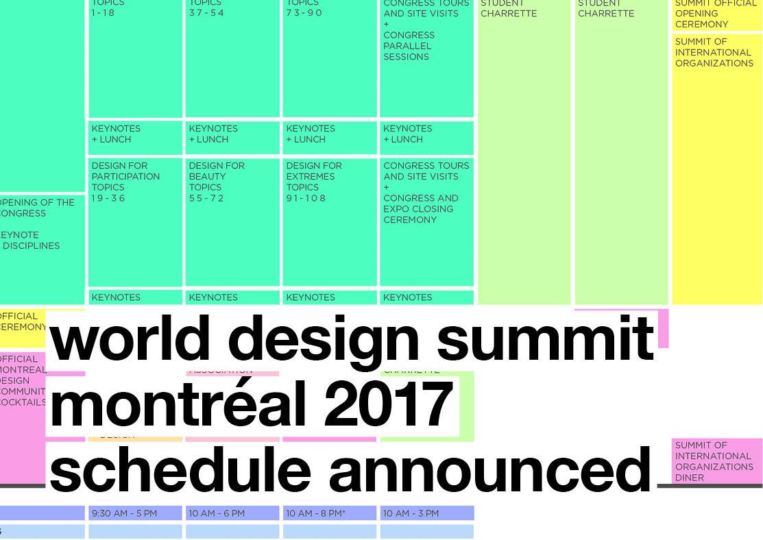 World Design Summit (WDS) Montréal 2017 Schedule Announced