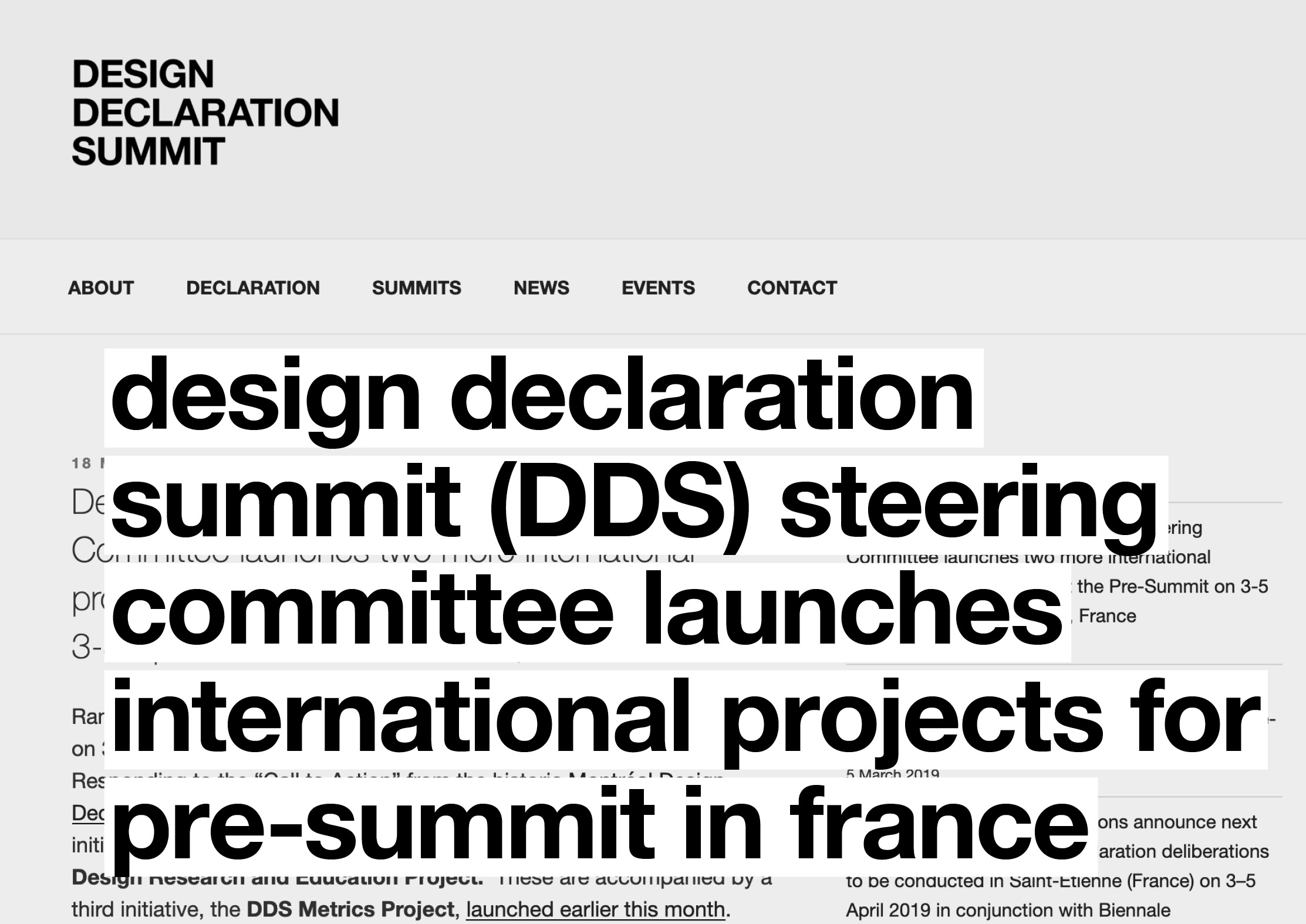 Design Declaration Summit (DDS) Steering Committee launches two more international projects for Pre-Summit in France