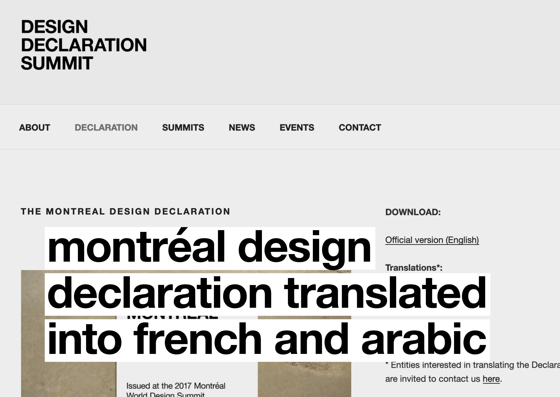Montréal Design Declaration translated into French and Arabic
